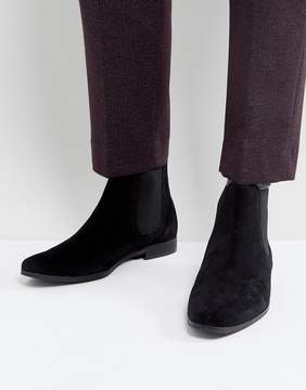 Zign Shoes Suede Chelsea Boots In Black