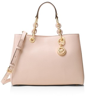 MICHAEL Michael Kors Cynthia Medium Saffiano Leather Satchel - SOFT PINK/GOLD - STYLE