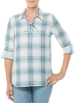 Allison Daley Long Roll-Tab Sleeve Plaid Lace-Up Shirt