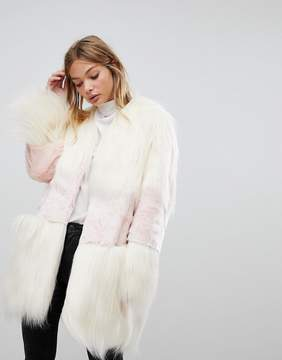 French Connection Faux Fur Mix Match Coat
