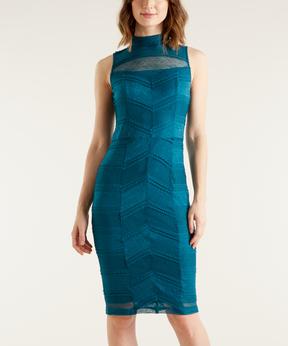 Bebe Deep Jade Semisheer-Panel Sheath Dress