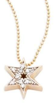 Alex Woo Little Faith Diamond & 14K Yellow Gold Sunburst Star Pendant Necklace