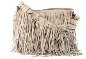 Roberto Cavalli Nude Tiered Fringe Leather Shoulder Bag