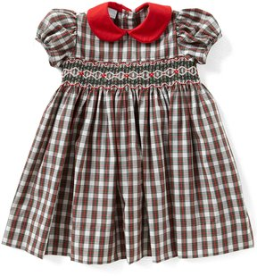 Edgehill Collection Little Girls 2T-4T Christmas Smocked Plaid Dress