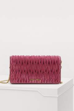 Miu Miu Matelasse velvet wallet on chain