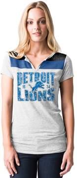 5th & Ocean By New Era Women's by New Era Detroit Lions Burnout Henley Tee