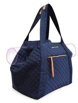Adrienne Vittadini Quilted Yoga Mat Tote With Double Handles And Zip Top Closure-navy