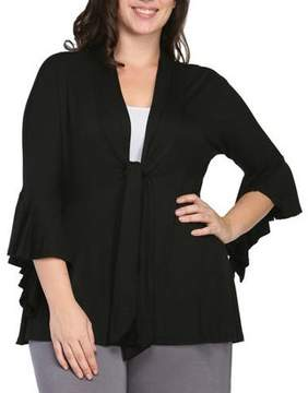 24/7 Comfort Apparel Plus Size Tie-Front 3/4 Bell Sleeve Jacket