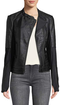Blanc Noir Ryder Faux-Leather Moto Jacket with Stretch-Knit Inserts