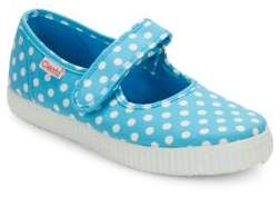 Cienta Girl's Polka Dot Canvas Mary Jane Flats