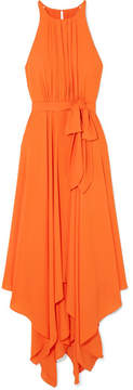 Halston Tie-front Georgette Midi Dress - Orange