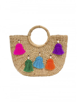 Jade Tribe Tassel Pom Beach Basket