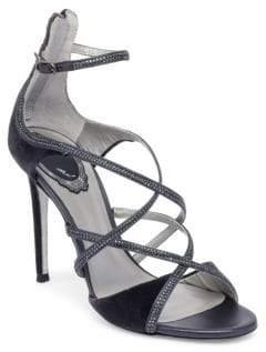Rene Caovilla Crystal Studded Velvet Sandals
