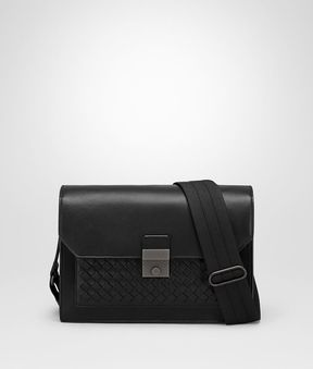 Bottega Veneta Nero Nappa Messenger Bag