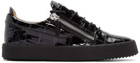 Giuseppe Zanotti Black Croc-Embossed May London Sneakers