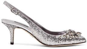 Dolce & Gabbana Crystal-embellished Glittered Leather Slingback Pumps - Silver