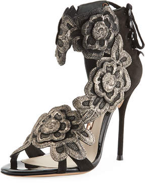 Sophia Webster Floral-Embroidered Suede Sandal