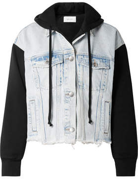 Current/Elliott The Celyn Hooded Distressed Denim And Cotton-jersey Jacket - Light denim