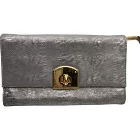 Sergio Rossi Grey Leather Clutch Bag