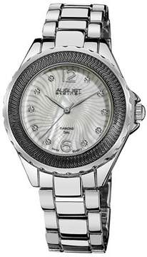 August Steiner Mother of Pearl Diamond Dial Silver-Tone Ladies Watch