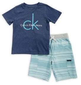 Calvin Klein Jeans Little Boy's Printed Tee and Short Set