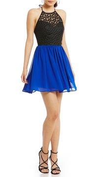 B. Darlin Lace Bodice Halter Neck Color Block A-Line Dress