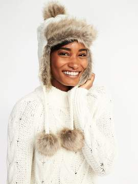 Old Navy Cable-Knit Faux-Fur Trim Trapper Hat for Women