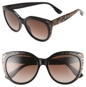 Jimmy Choo Women's 'Nicky' 56Mm Cat Eye Sunglasses - Animal Black