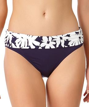 Anne Cole Navy & White Floral-Trim Fold-Over Bikini Bottoms