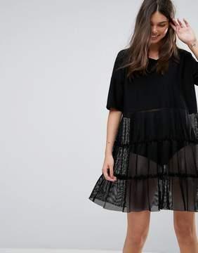 Noisy May Mesh Tiered V-Neck Dress