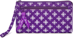 Vera Bradley Purple & White Mini Concerto Front-Zip Wristlet - PURPLE - STYLE