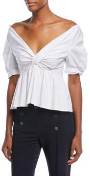 A.L.C. Moritz Off-the-Shoulder Twist-Front Cotton Poplin Top