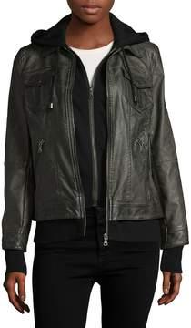 Bagatelle Women's Hooded Faux Leather Jacket