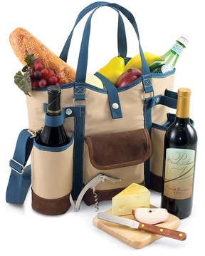 Picnic Time Tan & Blue Wine Country Tote Set