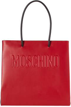 Moschino Red Logo Convertible Leather Tote