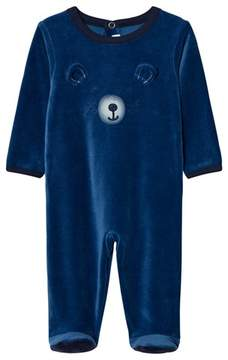 Absorba Blue Bear Applique Velour Babygrow