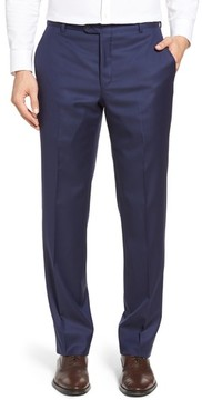 Hickey Freeman Men's Classic B Fit Flat Front Solid Wool Trousers