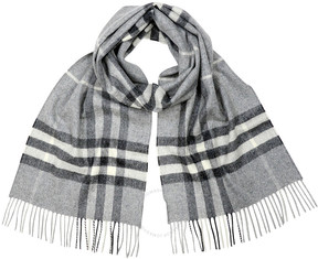 Burberry Classic Cashmere Scarf in Check - Pale Grey
