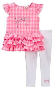 Juicy Couture Gingham Ruffle Bottom Tunic & Legging Set (Little Girls)