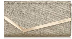 Jimmy Choo EMMIE Champagne Glitter Fabric Clutch Bag