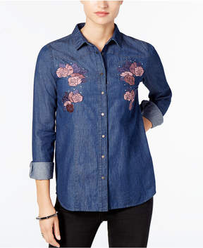 Buffalo David Bitton Thinatini Embroidered Denim Shirt