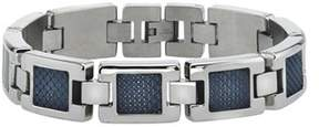 Armani Exchange Jewelry Mens Carbon Fiber Bracelet In Stainless Steel.