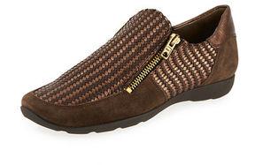 Sesto Meucci Ganice Woven Zip-Up Sneaker, Brown/Bronze