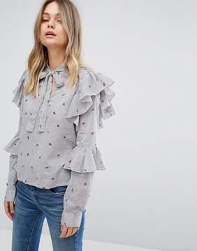 Vero Moda Stripe Floral Ruffle Sleeve Blouse