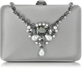 Rodo Satin Silk Collier Clutch w/Crystals