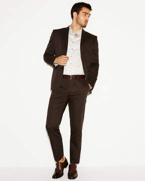 Express Slim Photographer Brown Cotton Sateen Suit Pant