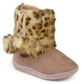 Journee Collection Girls' Pom Pom Faux Fur Fashion Boots - Assorted Colors