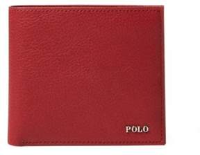 Ralph Lauren Metal-Plaque Leather Billfold Red One Size