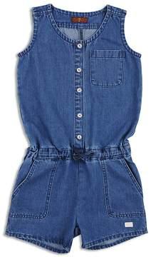 7 For All Mankind Girls' Denim Button-Up Romper - Big Kid