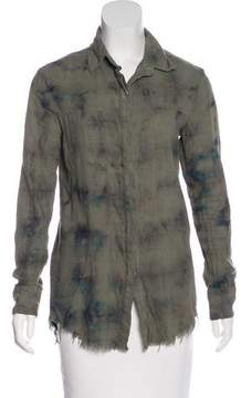 RtA Denim Long Sleeve Button-Up Top